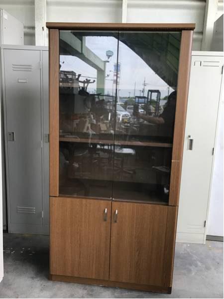 木製書庫 役員書庫 ガラス扉 900×440×1800 オフィス 引取りOK 大阪 450x600