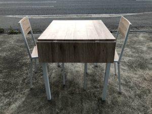 2人掛け 木製テーブル 椅子セット 80X120X700 770 300x225